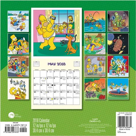 Calendar 2018 Tv Shows The Simpsons Animated Tv Series 16 Month 2018 Wall