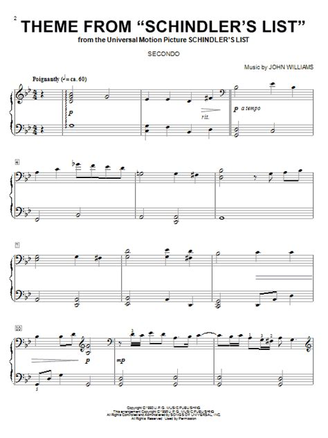 theme songs list theme from schindler s list sheet music direct