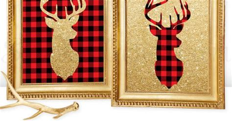 home decor red deer printable winter home decor deer head signs lumberjack