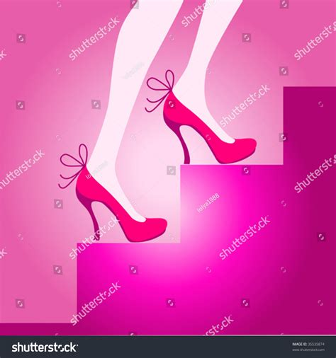 legs in pink shoes on a ladder stock vector