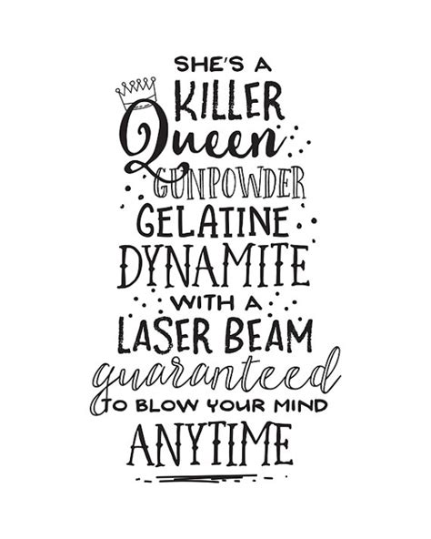 printable lyrics dynamite printable art music lyrics she s a killer queen