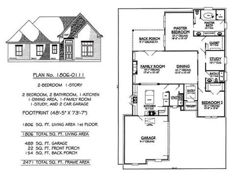 2 bedroom one story house plans 1 story 2 bedroom 2 bathroom 1 kitchen 1 dining room 1 family room 2 car garage