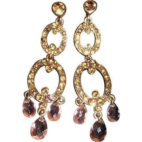 Vintage Monet Chagne Chandelier Clip Earrings From Monet Chandelier Earrings