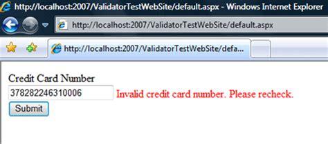 Credit Card Format Validation Credit Card Number Format Validation