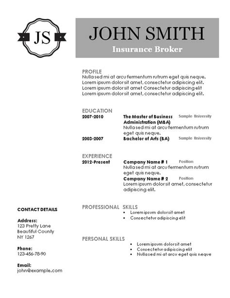 Creative Resume Templates Monogram Resume Template