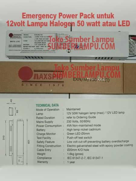 Lu Emergency Merk Panasonic maxspid emergency power pack halogen 50 watt atau led