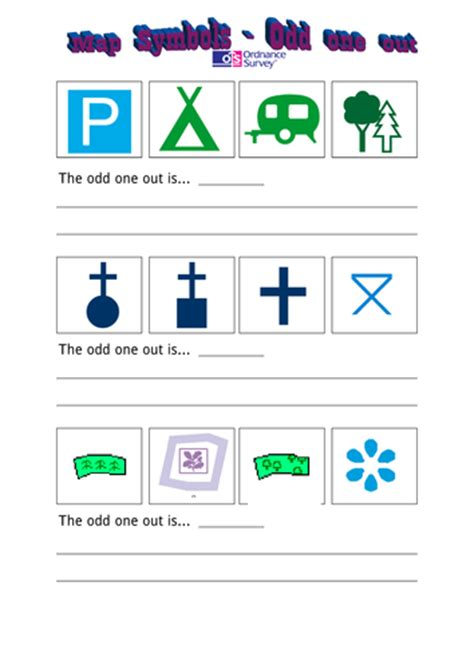 Map Symbols Worksheet by Map Symbols One Out Worksheet By Specialrach