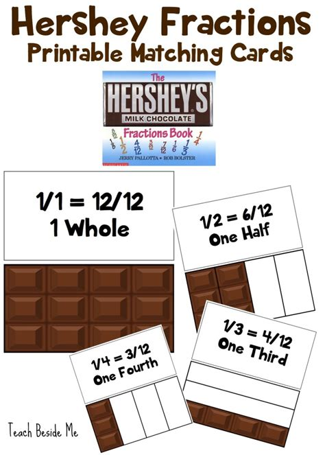 free hershey fractions matching cards free homeschool