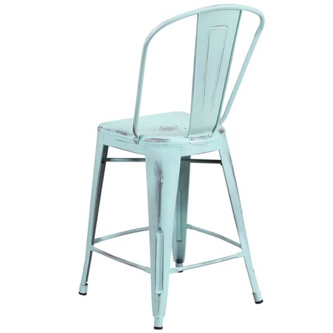 Green Metal Counter Stools by Flash Furniture Et 3534 24 Db Gg Distressed Green Blue