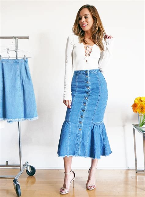 how to wear denim skirts 2016 fashion trends