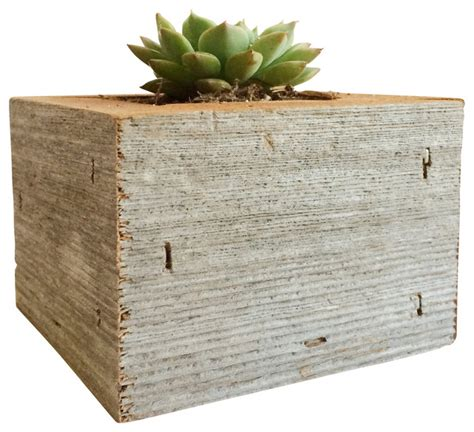 indoor wood planter alibi interiors onesie reclaimed wood succulent box
