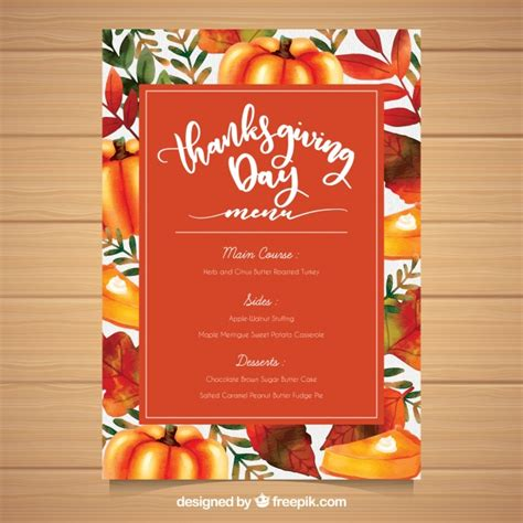 Thanksgiving Menu Template Free