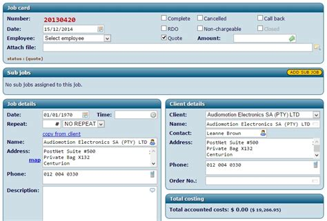 invoice sheets job quoting job management software system