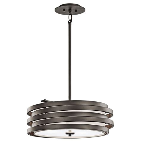 bronze glass pendant light kichler modern bronze drum pendant light with white glass