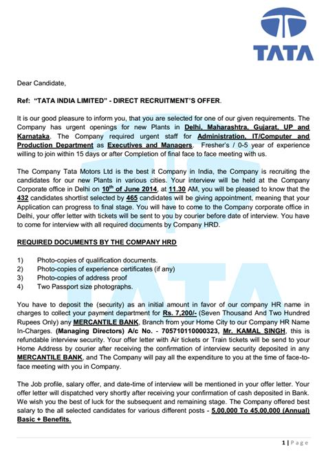 Offer Letter Sle Indian Companies Tata India Limited Offer Letter Beware Of Offer