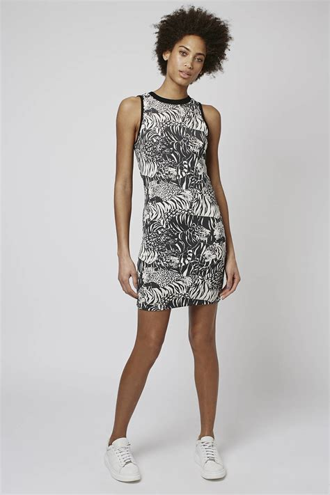 Topshop Black Mini Dress topshop tiger print mini dress in black lyst