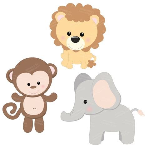 Baby Does 206 Clip 1 professional baby jungle animals clipart vector set baby