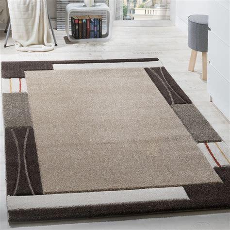 teppich beige braun designer teppich kurzflor mit bord 252 re konturenschnitt
