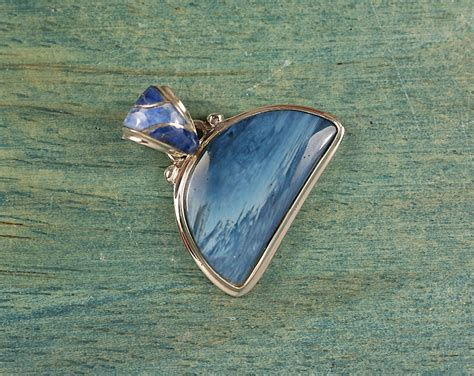 swedish blue swedish blue and sterling silver pendant with inlay bail