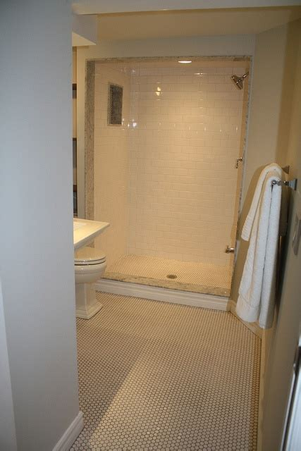 penny bathroom basement bathroom penny tile my house pinterest