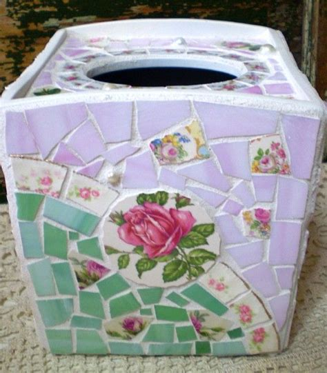 mosaic pattern dishes mosaic tissue box with vintage china by