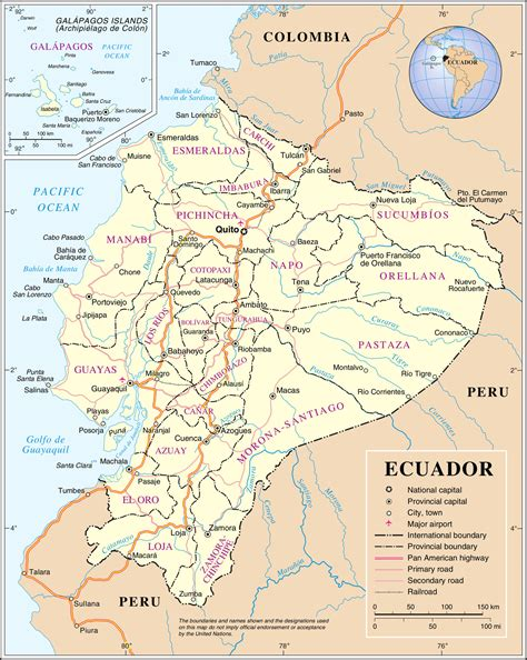 printable road map of ecuador large detailed road and administrative map of ecuador
