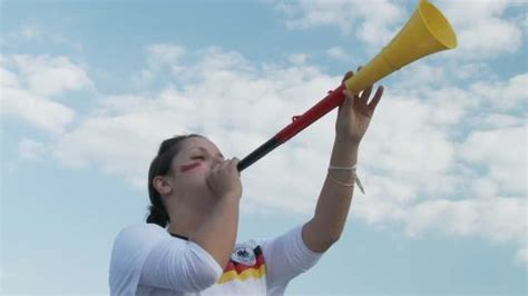 loud fans to drown out noise german fan woman vuvuzela hd stock video 405 334 927