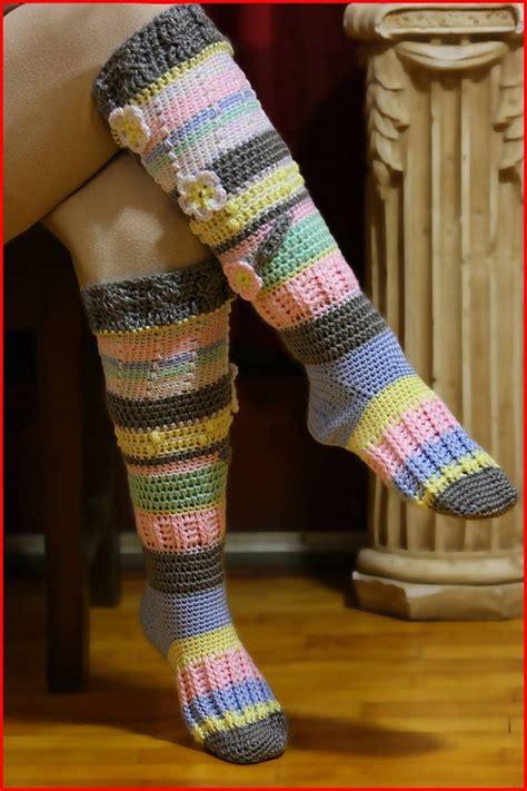High Pattern Socks   knee high socks by nadia fuad free crochet pattern