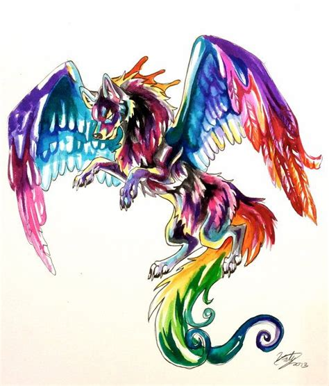 colorful wolf 88 best wolf with wings images on