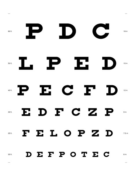 printable eye chart letter size eye chart sle free download
