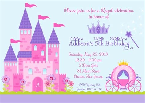 castle invitation template princess castle invitation custom digital invitation