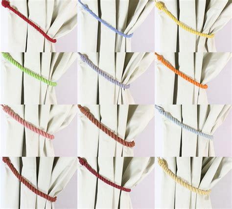 Rope Tiebacks For Curtains Pair Cotton Rope Curtain Tiebacks Tie Backs 11 Colours New Ebay