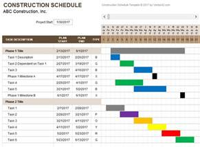building work schedule template construction schedule template