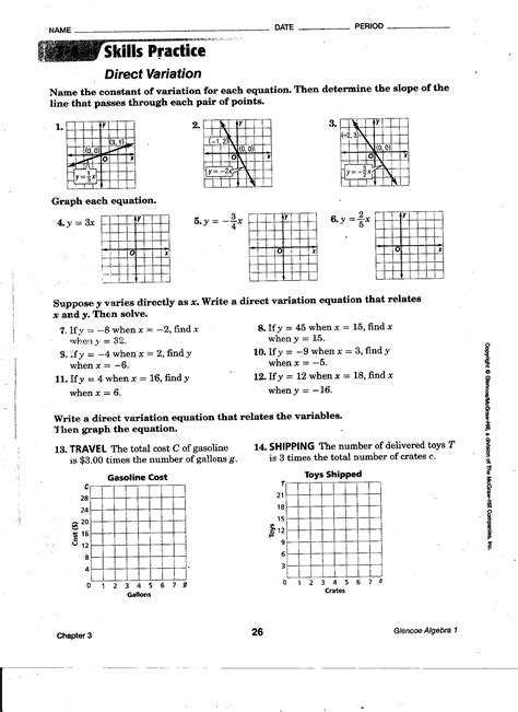 Direct Variation Worksheet With Answers by 100 Word Problems Direct Variation Worksheet Direct
