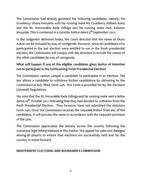 Withdrawal Letter From Election iebc declares election will proceed despite raila