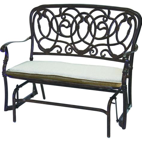 darlee florence 2 cast aluminum patio bench glider