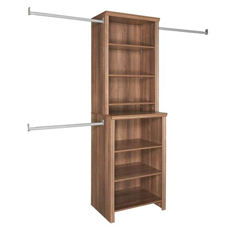 closetmaid impressions 25 in w walnut deluxe closet kit