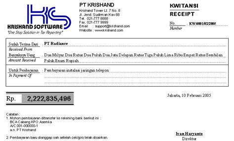 Kwitansi Pembayaran by Software Program Krishand Kwitansi Cetak Bukti