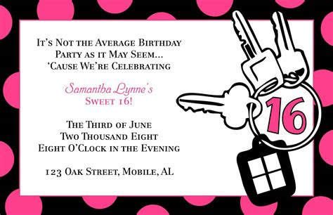 sweet 16 invitation templates free free templates for birthday invitations drevio