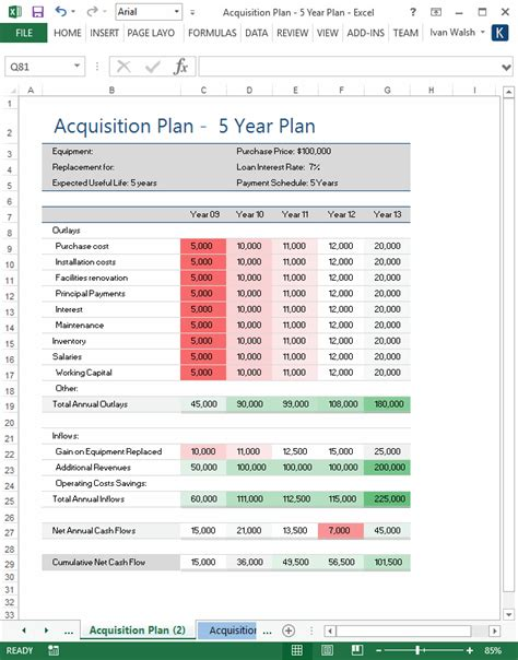 acquisition strategy template acquisition plan template ms word excel