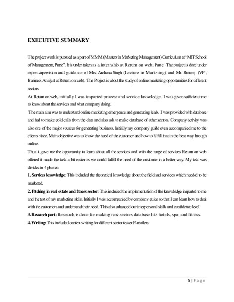 Mba Marketing Internship Project Reports by Project Report On Quot A Study Of Digital Marketing Services Quot