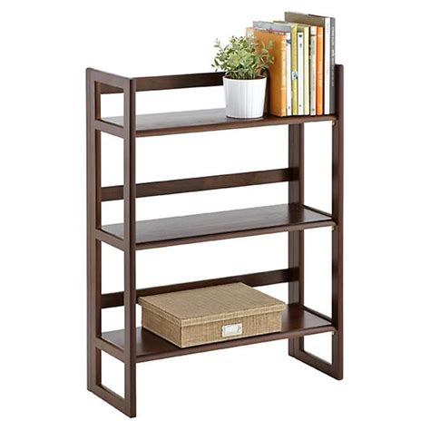 Wood Folding Bookcase java solid wood stackable folding bookcase the container store