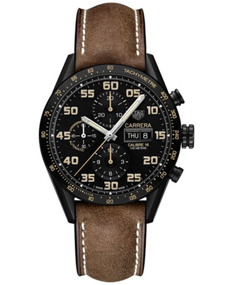 Tag Heuer Calibre 1887 43mm Leather Black Tag Heuer S Swiss Automatic Chronograph