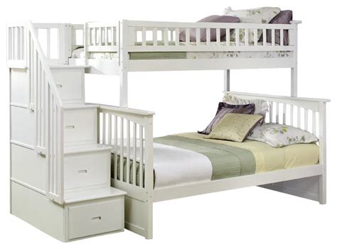 cymax beds columbia staircase bunk bed twin over full transitional beds