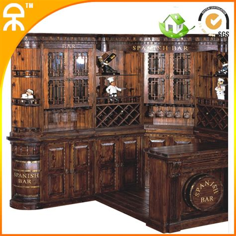 Bar Set Furniture 1 Bar Table 1 Wine Cabinet Classical Carving Wooden Bar