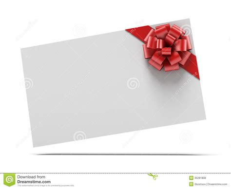 Red Gift Card - gift card with red ribbons royalty free stock photos image 35281808