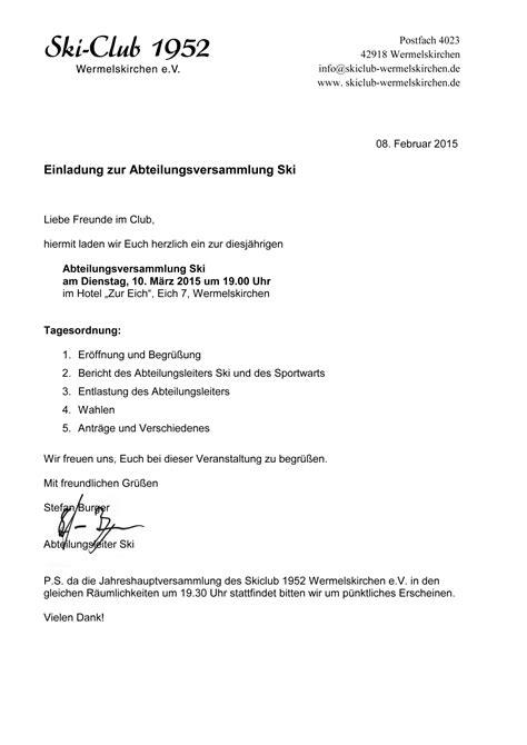 Muster Einladung Zur Jahreshauptversammlung Verein Einladung Jahreshauptversammlung Verein Freshideen Us