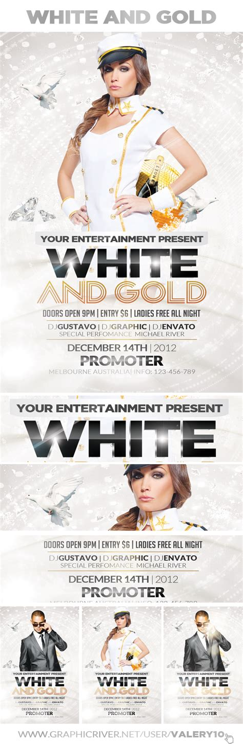 free white and gold party flyer template on behance