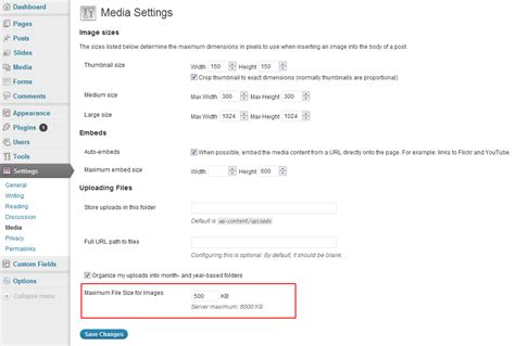 format file size limit how to set a maximum upload size for images in wordpress
