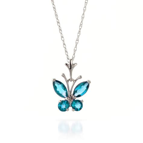 Sherry Topaz 14 95 Ct 14k white gold butterfly necklace with 0 60ct blue topaz